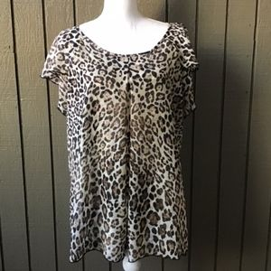 Cocomo Animal Print Scoop Neck Double Layer Top